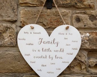 Personalised Large Wooden Heart Family Tree