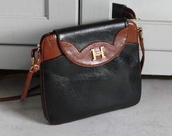 Leather Crossbody Bag Hidalgo Black Brown Vintage Retro Genuine Leather Gold Elements Women Girl Oldschool  Small Size