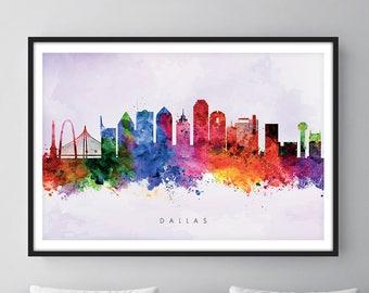 Dallas Skyline, Dallas Texas Cityscape Art Print, Wall Art, Watercolor, Watercolour Art Decor