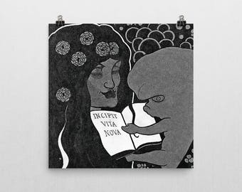 Aubrey Beardsley illustration- Incipit Vita Nova. Premium Semi-Gloss Photo Paper Poster