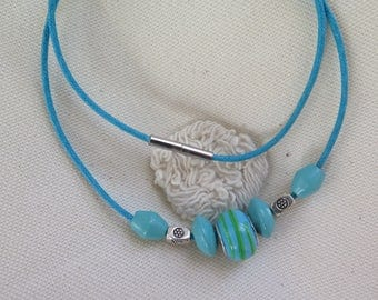 NECKLACE BLUE TURQUOISE LAMPWORK BEAD AND WOOD BEADS METAL SILVER