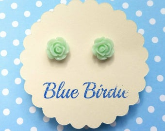 Rose earrings rose jewellery rose jewelry rose stud earrings green rose earrings flower jewellery small rose earrings bridesmaid