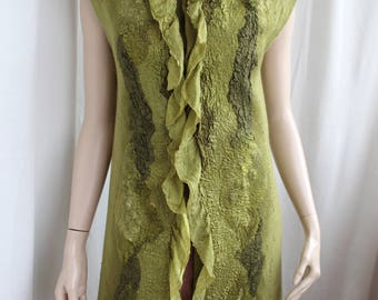 Eco and boho style fashion felted vest from natural silk and wool (with hand-dyed silk fragments)