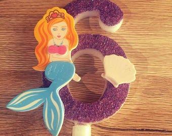 Large Birthday Candle/Little Mermaid Birthday Candle/ Mermaid Themed Birthday Cake Candle/Pretty Birthday Candle/Number Birthday Candle