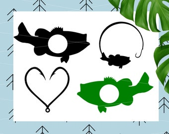 Fish monogram svg fish hook svg fishing svg files for Cricut Silhouette vector cut files svg png dxf eps