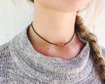 Copper Accented Black Choker on Cord