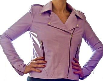 Perfecto RAIN by GoaGlitters biker jacket lilac lambskin leather jacket size medium