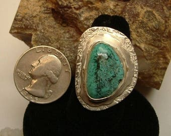 Turquoise Ring Sterling Silver OOAK Large Chunky Size 9 Utah Picture Turquoise Statement Ring Blue Green  144G