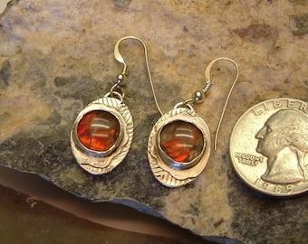 Ammolite Earrings Sterling Silver OOAK Statement Jewelry Utah Ammolite Statement Earrings Red Fire 159G