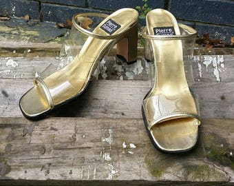 Vintage Gold & Clear Mules