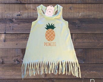 Pineapple Princess Fringe Tunic//Baby Girl Dress//Girl's Beach Coverup//Kids Clothes