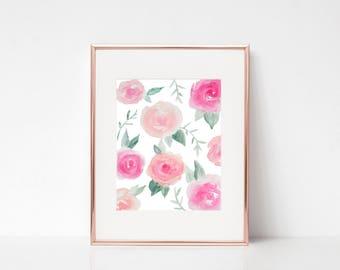 Floral Watercolor Print   Fine Art Print  