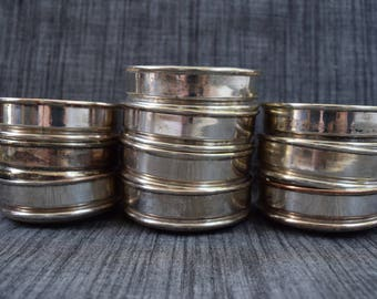 Set of 10 Vintage Silver Tone Coasters with Wood Bottoms