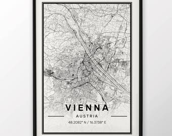 Vienna City Map Print Modern Contemporary poster in sizes 50x70 fit for Ikea frame 19.5 x 27.5 All city available London, New York Paris