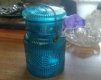 Vintage Avon Turquoise Blue Replica Canning Jar