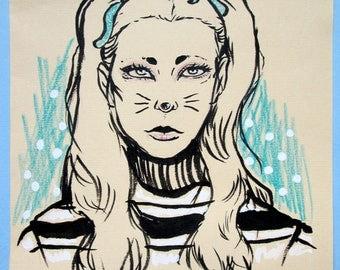 Kitty-Signed Original Fashion Sketch
