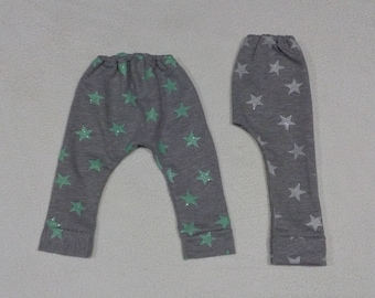 Pants tracksuit cotton patterned star, termination fist, handmade baby clothing, leggings
