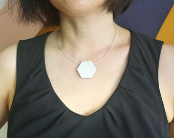 White Geometric Pendant Necklace- Minimalistic Style