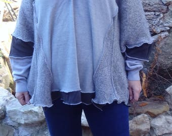 Grey oversize sweater hooded patchwork