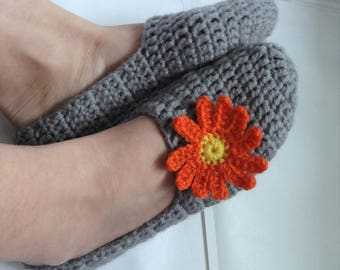 GREY Crochet Slippers for Women  Soft Crochet Slippers, Home Shoes ,  Women Slippers , girls house slippers , gift for women, gift for her