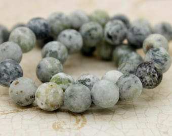 Dye Agate (Light Gray) Matte Round Gemstone Beads