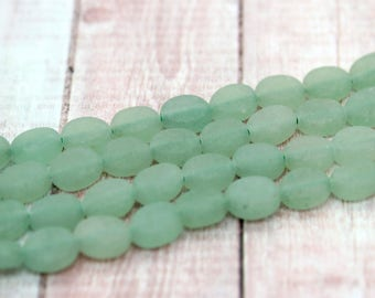 Matte Aventurine Beads Frosted Flat Rectangle Gemstone Beads