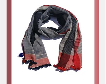Rama Grey and Red Stripe Scarf