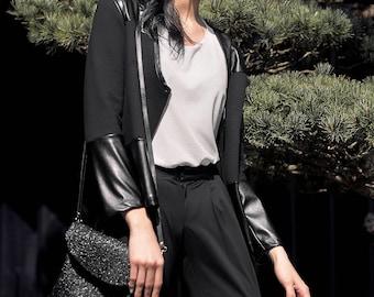 Blank black cotton sweatshirt jacket with eco-leather inserts