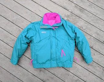 Vintage 90's Columbia Women's Ski Jacket || Teal Winter Jacket w Removable Pink Puff Liner || Vintage Columbia Whirlibird Jacket, Medium