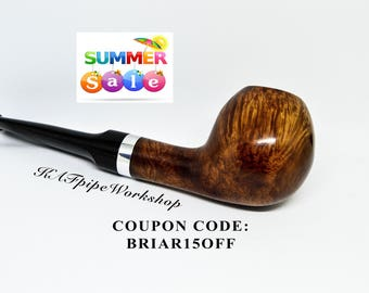 BRIAR Pipe Mini/Smoking briar pipe #4/Tobacco Smoking pipe/Briar wood pipe/Handcrafted pipe/Handmade pipe/Apple bowl pipe/Classic pipe/pipa