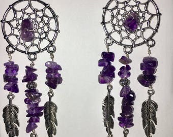 Amethyst and Silver Dreamcatcher Earrings. (Pair)