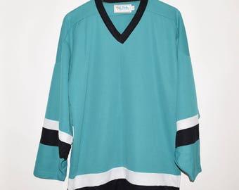 Rare Vintage VTG Alpha Sportswear Polyester Hockey Jersey Large Sharks