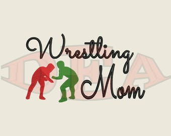 Wrestling Mom (Male Wrestlers) - Instant Download Machine Embroidery Design