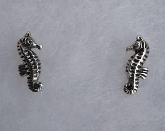 Sea Horse Earrings, Solid Sterling Silver Sea Horse Stud Earrings, Oxidized Earrings, Nautical Jewelry