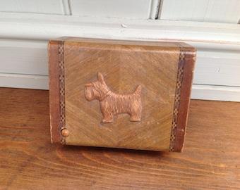 Vintage wooden scotty dog box 1940s