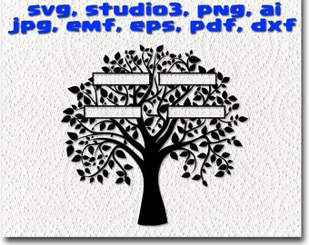 Family Tree 4 Names svg - cuttable Cricut Design Space , Silhouette Digital Cut Files Instant Download  svg dxf studio3 png pdf  clipart