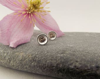 Mixed Metal Studs, Delicate Studs, Sterling Silver, 9ct Gold Detail, Nest Studs, Minimal Studs, Geometric Earrings, Minimal Earrings, Gift