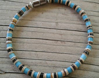 Men's Dark, Light Brown, Shell & Turquoise blue Bracelet,  Boho, Magnet Close, magnet bracelet, mens blue bracelet