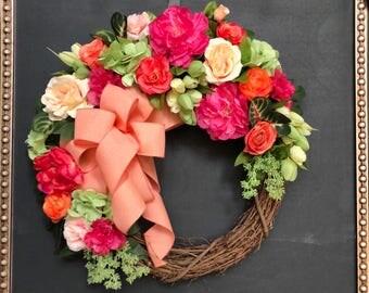Spring Wreath/ EasterWreath/ Front Door Wreath/ ShabbyChic Wreath/Farmhouse Wreath/ Mothers Day Wreath/Grapevine Wreath