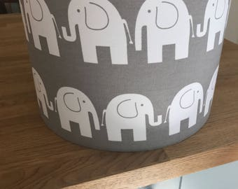 Handmade Lampshade made in Grey White Elephant Fabric.