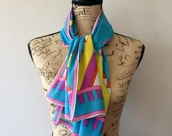 "Vintage Giorgio di Sant'Angelo 1960's tribal print scarf 44""x15"""