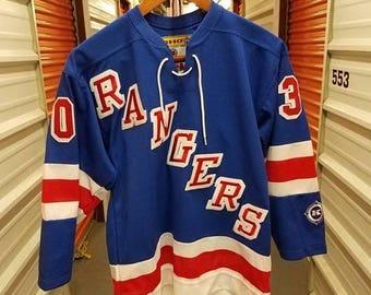 Summer Sale 10% NHL New York Rangers MikeDunham Sewn Hockey Jersey By Koho. Youth Size LG/XL.