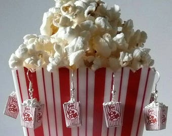 Popcorn Earrings Circus Carnival food earrings Popcorn Box Minifood Jewelry