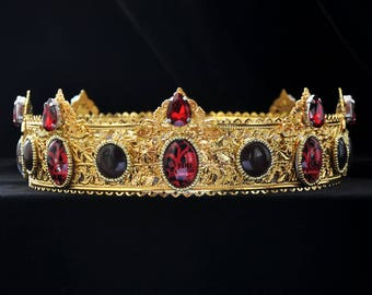 FIRE AND BLOOD gold red male crown, king crown, cosplay, game of throne, tudor, renaissance crown, medieval crown, dolce crown, king costume