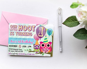 Owl Birthday Invitation, Little Hoot Birthday Invitation, Hoot Invitation, Custom Personalized Printable Invitation Digital Invite