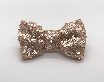 Matte Rose Gold Sequins Bow • Christmas • New Year
