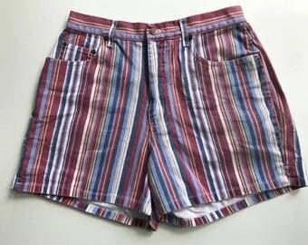 Pinstripe Rainbow Denim Shorts