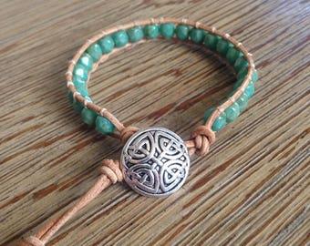 Leather bracelet, beaded bracelet, turquoise bracelet