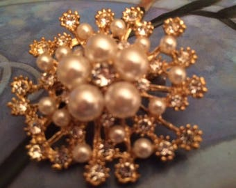 Joan Rivers Pearl and Crystal Snowflake Brooch/Pin