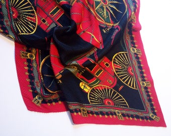 Vintage red and black color pleated Scarf from Italy